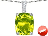 Original Star K™ Large 12x10mm Cushion Cut Simulated Peridot Pendant style: 307510