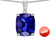 Original Star K™ Large 12x10mm Cushion Cut Simulated Tanzanite Pendant style: 307511
