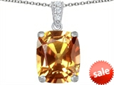 Original Star K™ Large 12x10mm Cushion Cut Simulated Imperial Yellow Topaz Pendant style: 307512