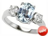 Original Star K™ 9x7mm Oval Simulated Aquamarine Engagement Ring style: 307513