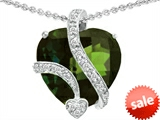 Original Star K™ Large 15mm Heart Shape Simulated Green Tourmaline Love Pendant