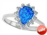 Original Star K™ 8x6mm Pear Shape Created Blue Opal Engagement Ring