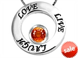 Original Star K™ Live/Love/Laugh Circle of Life Pendant with Round 7mm Simulated Orange Mexican Fire Opal style: 307520