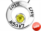 Original Star K™ Live/Love/Laugh Circle of Life Pendant with Round 7mm Simulated Yellow Sapphire