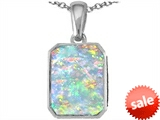 Original Star K™ Emerald Cut 10x8mm Created Opal Pendant