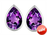 Original Star K™ 9x6mm Pear Shape Genuine Amethyst Earrings Studs style: 307530