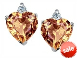 Original Star K™ 7mm Heart Shape Simulated Imperial Yellow Topaz Earrings style: 307538