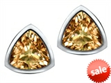 Original Star K™ 7mm Trillion Cut Simulated Imperial Yellow Topaz Earring Studs