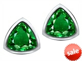 Original Star K™ 7mm Trillion Cut Simulated Emerald Earrings Studs style: 307544