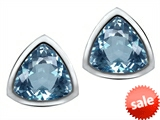 Original Star K™ 7mm Trillion Cut Simulated Aquamarine Earrings Studs style: 307545