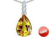 Original Star K™ Large 14x10mm Pear Shape Simulated Citrine Pendant style: 307551