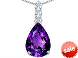 Original Star K™ Large 14x10mm Pear Shape Simulated Amethyst Pendant style: 307552
