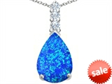 Original Star K™ Large 14x10mm Pear Shape Created Blue Opal Pendant