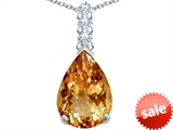 Original Star K™ Large 14x10mm Pear Shape Simulated Imperial Yellow Topaz Pendant style: 307554