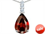 Original Star K™ Large 14x10mm Pear Shape Simulated Garnet Pendant style: 307555