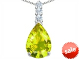 Original Star K™ Large 14x10mm Pear Shape Simulated Peridot Pendant style: 307556