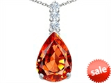 Original Star K™ Large 14x10mm Pear Shape Simulated Orange Mexican Fire Opal Pendant