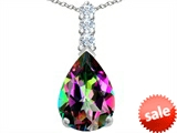 Original Star K™ Large 14x10mm Pear Shape Rainbow Mystic Topaz Pendant style: 307564