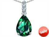Original Star K™ Large 14x10mm Pear Shape Simulated Emerald Pendant