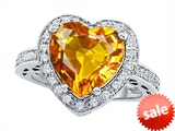 Original Star K™ Large 10mm Heart Shape Simulated Citrine Engagement Wedding Ring