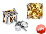 Original Star K™ Square 7mm Simulated Imperial Yellow Topaz Earrings style: 307570