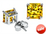 Original Star K™ Square 7mm Simulated Yellow Sapphire Earrings