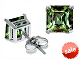 Original Star K™ Square 7mm Simulated Green Sapphire Earrings