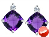 Original Star K™ 7mm Cushion Cut Genuine Amethyst Earrings Studs style: 307580