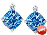 Original Star K™ 7mm Cushion Cut Genuine Blue Topaz Earrings Studs style: 307581