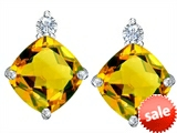 Original Star K™ 7mm Cushion Cut Simulated Citrine Earring Studs