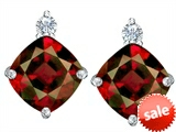 Original Star K™ 7mm Cushion Cut Simulated Garnet Earring Studs