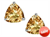 Original Star K™ Trillion 7mm Simulated Imperial Yellow Topaz Earring Studs