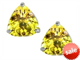 Original Star K™ Trillion 7mm Simulated Yellow Sapphire Earring Studs