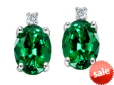Tommaso Design™ Oval 8x6mm Simulated Emerald and Genuine Diamonds Earrings