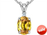 Tommaso Design™ Oval Genuine Yellow Orange Sapphire and Diamond Pendant