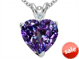 Tommaso Design™ 8mm Heart Shape Simulated Alexandrite And Genuine Diamond Pendant style: 307596