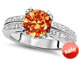 Original Star K™ Round 7mm Simulated Orange Mexican Fire Opal Engagement Wedding Ring style: 307597