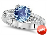 Original Star K™ Round 7mm Simulated Aquamarine Engagement Wedding Ring