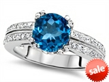 Original Star K™ Round 7mm Genuine Blue Topaz Engagement Wedding Ring