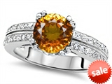 Original Star K™ Round 7mm Genuine Citrine Engagement Wedding Ring