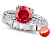 Original Star K™ Round 7mm Created Ruby Engagement Wedding Ring