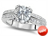 Original Star K™ Round 7mm Genuine White Topaz Engagement Wedding Ring style: 307609