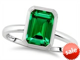 Tommaso Design™ 8x6mm Emerald Octagon Cut Simulated Emerald Engagement Solitaire Ring