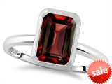 Tommaso Design™ 8x6mm Emerald Octagon Cut Genuine Garnet Engagement Solitaire Ring