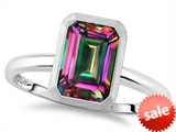 Tommaso Design™ 8x6mm Emerald Octagon Cut Rain Mystic Topaz Engagement Solitaire Ring