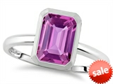 Tommaso Design™ 8x6mm Emerald Octagon Cut Created Pink Sapphire Engagement Solitaire Ring style: 307620