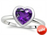 Tommaso Design™ 7mm Heart Shape Genuine Amethyst Engagement Solitaire Ring