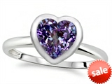 Tommaso Design™ 7mm Heart Shape Simulated Alexandrite Engagement Solitaire Ring