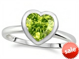 Tommaso Design™ 7mm Heart Shape Genuine Peridot Engagement Solitaire Ring