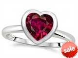 Tommaso Design™ 7mm Heart Shape Created Ruby Engagement Solitaire Ring